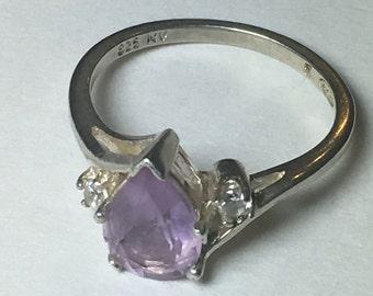 Amethyst ring, sterling silver amethyst ring, teardrop ring, vintage silver ring