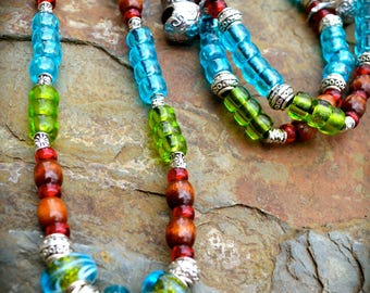 Equestrian Rhythm Beads With European Style Murano Glass Beads with polished wooden beads and Czech pressed glass