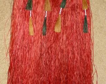 Vintage Grass Skirt, Hula Skirt, Mid-Century Costume, Vintage Hawiian Grass Skirt