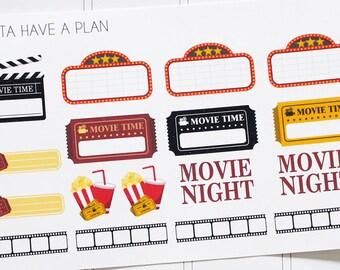 Planner Stickers Movie Night Variety for Erin Condren, Happy Planner, Filofax, Scrapbooking