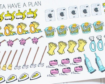 Planner Stickers Hand Drawn Cleaning Supplies for Erin Condren, Happy Planner, Filofax, Scrapbooking