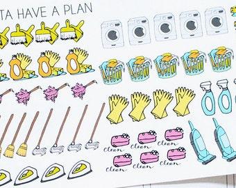 Planner Stickers Hand Drawn Cleaning Supplies for Erin Condren, Happy Planner, Filofax, Scrapbooking