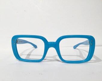 Vintage Blue Square Frame France Eyeglass Frames, Vintage 60s French Glasses Frames, Large Aqua Blue Retro Eyewear Nerd Geek Sunglasses