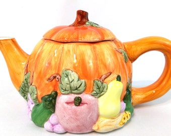 CLEARANCE - Vintage Russ Pumpkin Teapot w/ Raised Harvest Vegetables Around The Base