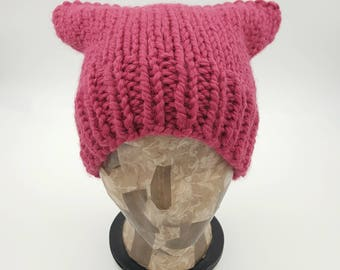 Pussycat Hat, Pussy Cat Hat, Hand Knit Beanie, Chunky Pussycat Hat, Pink Pussycat Hat, Pussy Hat, Knit Pussycat Beanie, Knit Pussycat Hat