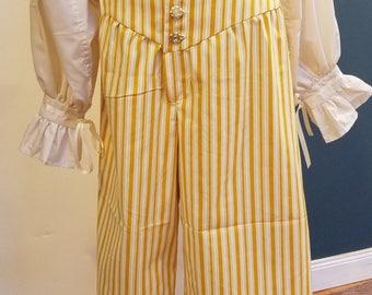 Renaissance Pirate Breeches Men's - XLg - Yellow Striped