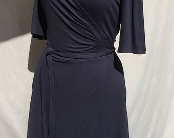 Navy blue wrap dress with butterfly sleeves - night blue jersey wrap dress - cotton jersey wrap dress - Handmade - Made in France