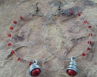 Big hoop earrings fashion earrings stylish earrings light earrings light jewellery summer holidays handmade jewellery Africa earrings beaded