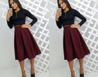 Marsala Pleated Skirt Knee Length Woman skirt Elegant Burgundy Midi skirt