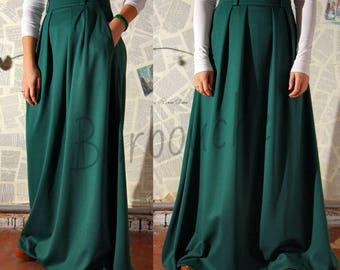 Dark Green Jersey Maxi Skirt Woman Autumn/Winter Emerald Long Skirt