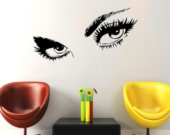 Wall Decal Eyes View Face Vinyl Sticker Decals Make Up Girl Woman Face Decal Home Decor