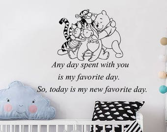 Classic Winnie The Pooh Wall Decals Quotes Any Day Spent With You Vinyl Sticker  Decal Nursery Part 44