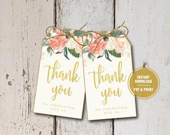 Bridal Shower Invitation, Bridal Shower Thank You Tags, Wedding Favor Tags, Floral Favor Tags, Bridal Favor Tags, Printable Instant Download