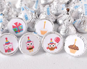Labels for Hershey® Kisses, Owl Hershey Kiss Labels Baby Shower, Kiss Candy Labels, Owl Stickers for Hershey Kisses