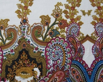 "Designer Fabric, Paisley Print, White Color, Cotton Fabric, Quilt Material, Dress Fabric, Home Decor, 42"" Inch Fabric By The Yard ZBC7082C"