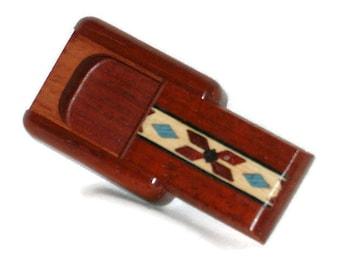 """Wood Pill Box   Red Bow Blue Diamonds   Padauk Wood   1.75""""L x 1.5""""W x 1/2""""D"""