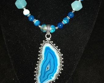 Blue Druzy Agate Necklace