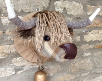 Handmade highland cow head faux taxidermy natural and beige checked tweed fabric wall mounted animal head trophy