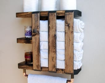 Towel Rack Bathroom, Bathroom Shelf With Towel Bar, Bathroom Wall Shelves