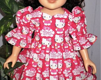 "18"" ag pink ""Hello Kitty"" doll dress and matching undies, bright pink ""Hello Kitty"" doll undies, Hello Kitty doll dress"