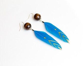 Chevron earring Turquoise earring Feather jewelry Blue earring Ethnic jewelry Tribal earring Boho Summer earring Chevron Native american