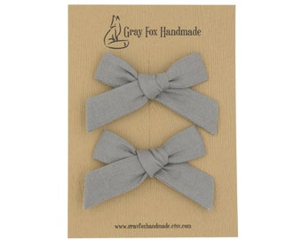 Steel Gray Hand-Tied Bow // Pigtail Set