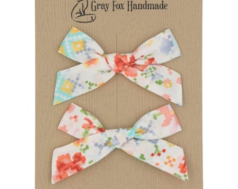 Pixel Floral Hand-Tied Bow // Pigtail Set
