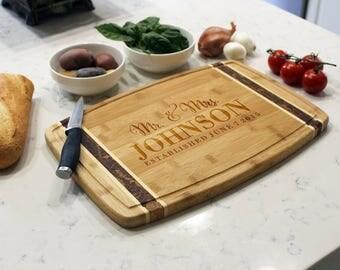 Personalized Cutting Board, Custom Cutting Board, Engraved Cutting Board, Cutting Board, Custom Wedding Gift --CB-BAMM-Mr.&Mrs.Johnson