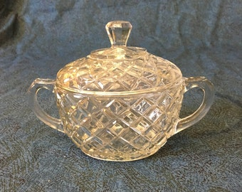Vintage Hocking Waterford Pattern Waffle Glass Covered Sugar Bowl