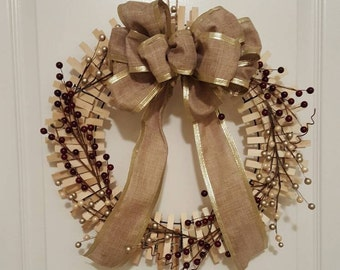 Holiday Clothespin Wreath