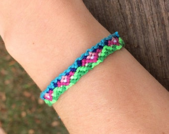 Blue, Pink, and Green Friendship Bracelet