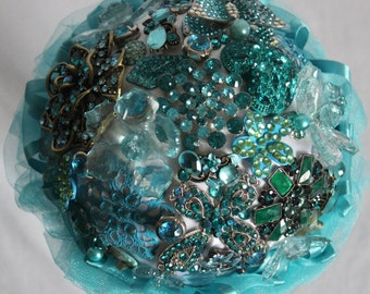 Turquoise Brooch Bouquet. Wedding day bouquet made from brooches and jewelry
