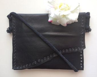 FREE SHIPPING / Leather Black Bag / Clutch Bag / Extravagant Bag / Gift Idea by FabraModaStudio / A903