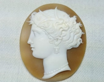 Gorgeous Ornately Hand Carved Sea Shell Cameo, Antique, Goddess, Neptune