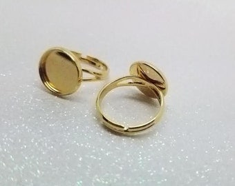 12mm Gold Plated Adjustable Ring Blanks - 4 Pcs