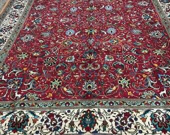 "9'10"" x 13' Persian Tabriz Oriental Rug - 1950s - Hand Made - 100% Wool"