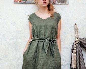 Loose Fitting Long Linen Dress, Women Linen Dress for Women - women clothing, Linen dress with a belt, natural linen dress, long dress
