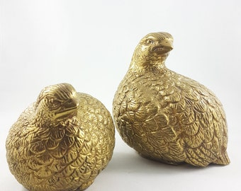 Large Vintage Brass Quails, Brass, MCM, Figurine, Office Decor