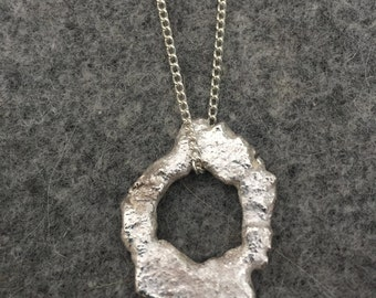 Solid Sterling Silver 925 Organic Pendant