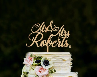 Custom wedding cake toppers, personalised mr and mrs cake topper, last name wedding cake toppers, wooden cake topper, gold topper, silver