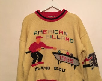 Vintage 1958 American Billard Blanc Bleu Cream Sweater Size Large