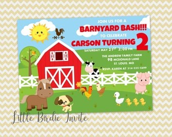 Cute Farm Animal Birthday Invitation, Barnyard Birthday Invitation, Printable Invitation, Custom Invitation, Digital Invitation, Farm Invite