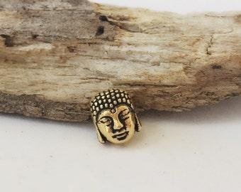Gold Tone Buddha Bead / Head Double Sided / Zen Beads / 9 mm / BE44