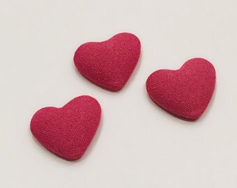 3 Puffy Heart Cabochons / Bright Pink Heart Cabochons / 20 mm Cabochons / Pink Buttons / CA20NT