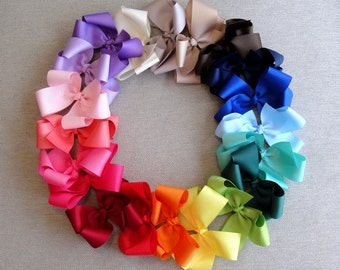 "4.5"" Boutique Bows, Girl Bows, Hair Bow, Ribbon Bow, Grosgrain Ribbon Bow, Hair Pin, Hair Accessories"