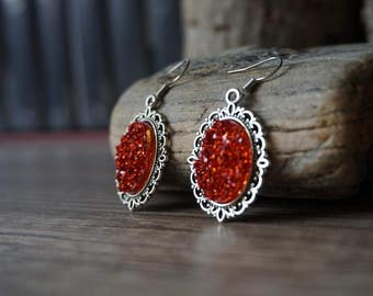 """Earrings """"Red Crystals"""""""