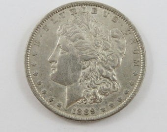 U.S. 1889 Morgan Silver Dollar Coin.