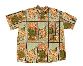 1970s Novelty Print Satellite Print Men's Shirt