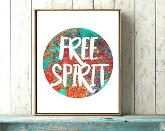 Free Spirit, Boho Decor, Hippie Decor, Wall Decor, Home Decor, Art Print, Printable, Wall Art Print, Watercolor Print, Inspirational