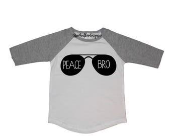 Toddler Raglan Shirt-Toddler Gray Raglan Shirt-Toddler Raglan-Toddler Raglan Gray Shirt-Peace Bro Toddler Raglan-Birthday Raglan